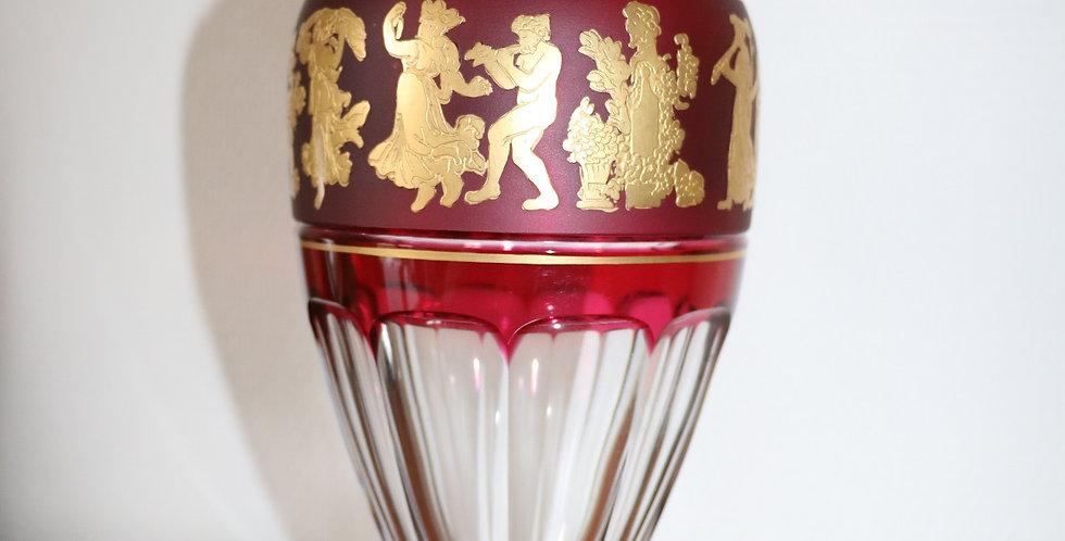 """Vase en cristal du Val St Lambert doublé rouge, """"La Danse de Flore"""", 31 cm"""