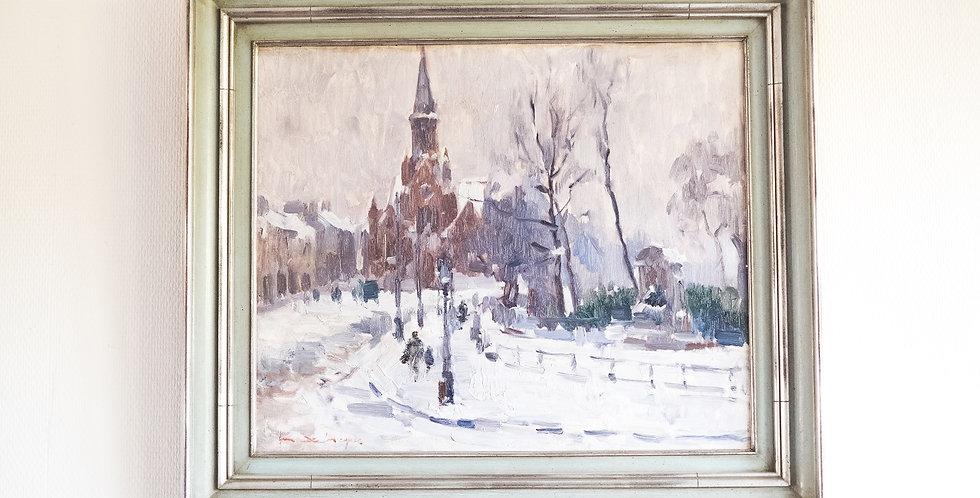"""HSP Maurice DE MEYER (1911-1999), """"Eglise sous la neige"""", 45 x 54 cm"""