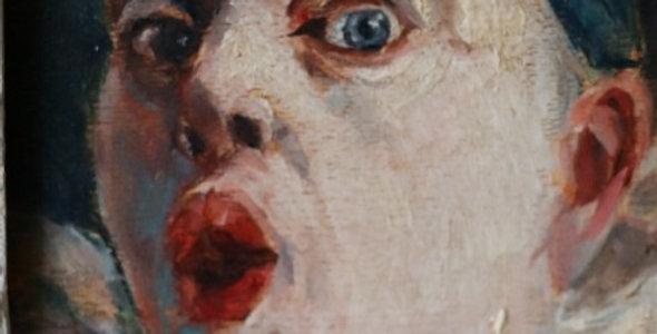 """HSP Armand HENRION (1875-1958), """"Pierrot étonné au bonnet bleu"""", 14,5 x 9 cm"""