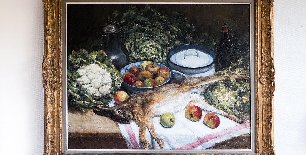 """HST Louis CLESSE (1889-1961), """"Nature morte au lapin"""", (19)41, 80 x 100 cm"""