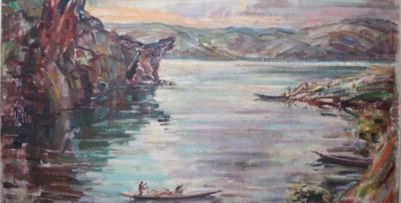 """HST André HALLET (1890-1959), """"Maternité-Kivu"""", 60 x 70 cm"""