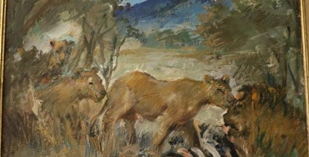 """DAXHELET Paul (1905-1993), HST, """"Lionnes et Lion"""", 30 x 40 cm"""