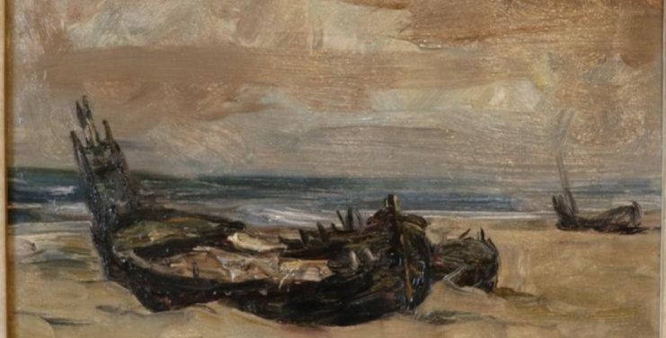 "HSP Armand JAMAR (1870-1946), ""L'Epave-Berck sur Mer"", 1936, 28 x 34 cm"