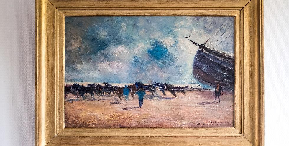 """DE MEYER Maurice (1911-1999), HST, """"Chevaux sur la plage"""", 40 x 60 cm"""