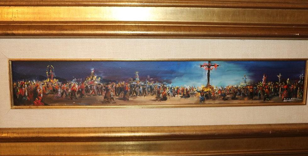 """HSP Paul DAXHELET (1905-1993), """"Le Calvaire"""", 1973, 10 x 60 cm"""