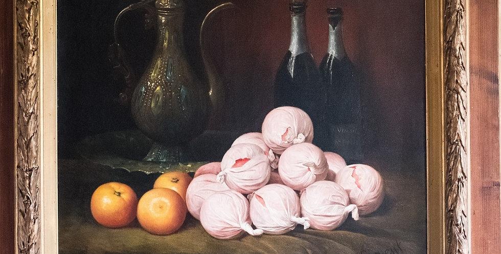 """HST SIRVENT (peintre français du 19me), """"Nature morte aux oranges"""", 53 x 64 cm"""