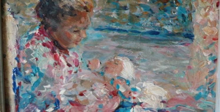 """HSP M. FISHER PROUT (1875-1963), """"Maternité"""", 15 x 20 cm"""