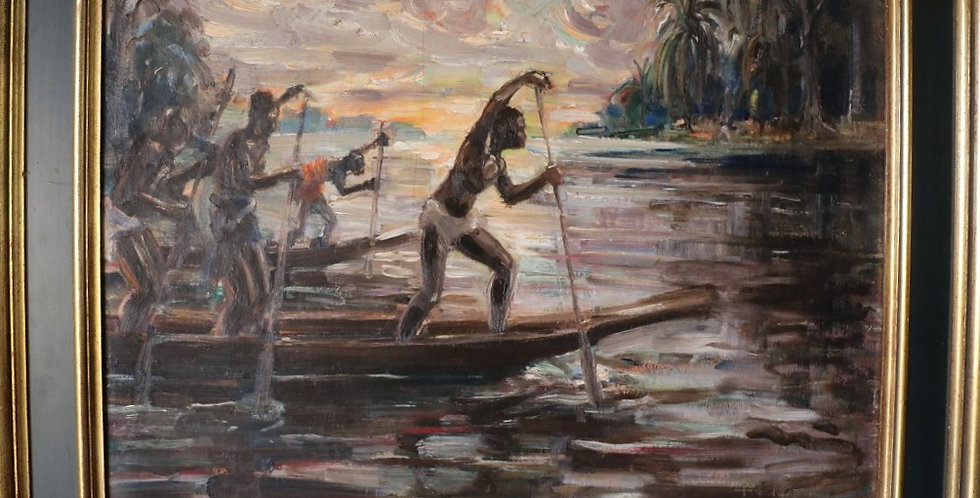 """HSP André HALLET (1890-1959), """"Pirogues sur le Lac Kivu"""", 47 x 54 cm"""