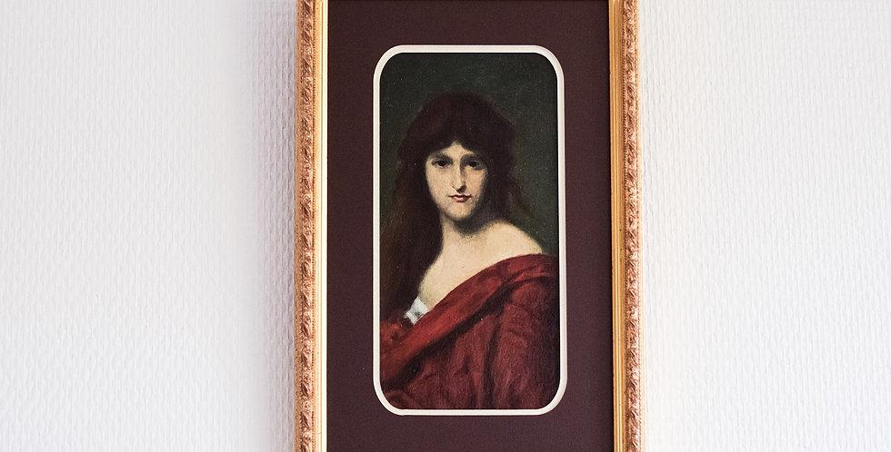 """PRB, estampillée, (18)87, 19me, """"Femme au manteau rouge"""", 19 x 11 cm"""