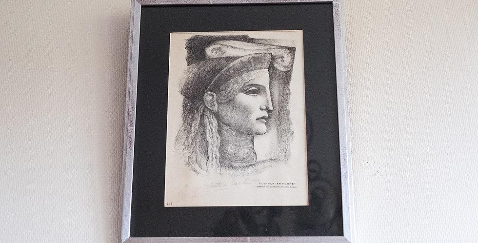 "Gravure d'ANTO CARTE (1886-1954), ""Etude pour Antigone"", 31 x 23 cm"