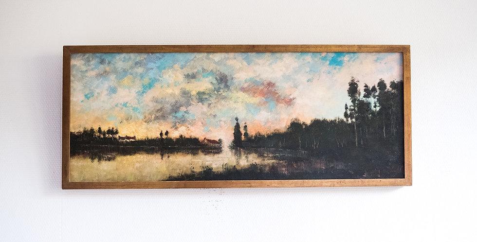 """DE MEYER Maurice (1911-1999), HST, """"Coucher de soleil sur l'étang"""", 40 x 90 cm"""