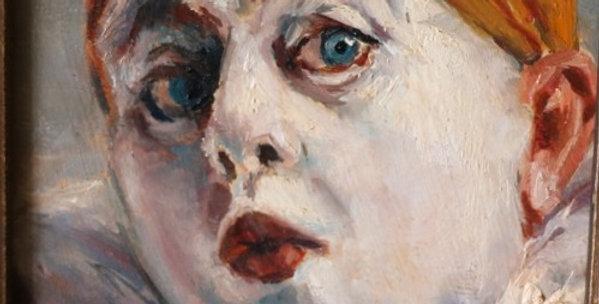 """HSP Armand HENRION (1875-1958), """"Pierrot étonné au bonnet jaune"""", 13 x 11 cm"""