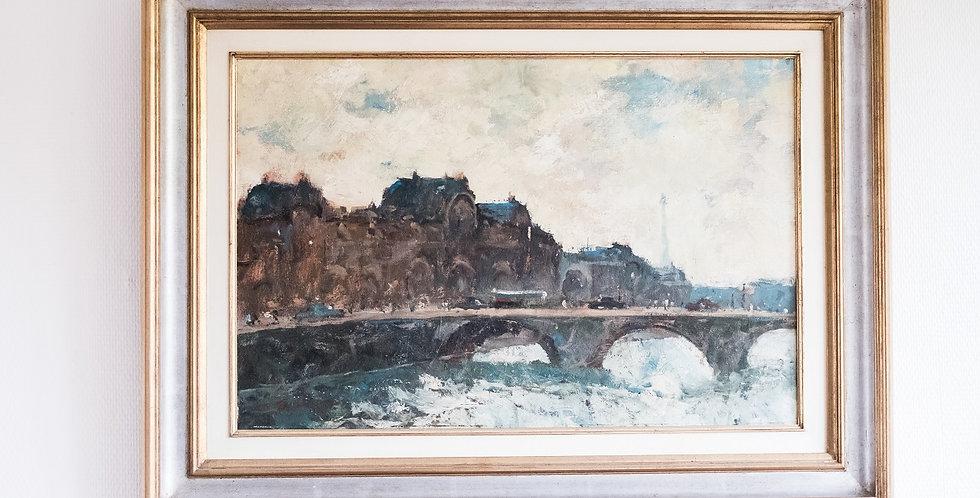 """HST Maurice DE MEYER (1911-1999), """"Le Pont Royal à Paris"""", 42 x 64 cm"""
