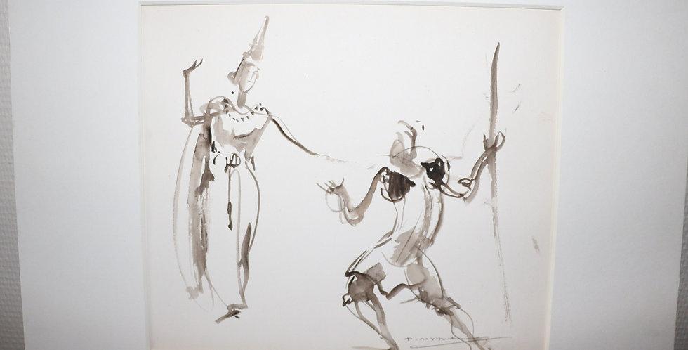 """DAXHELET Paul (1905-1993), Lavis, """"Danseurs Balinais"""", 25 x 30 cm"""