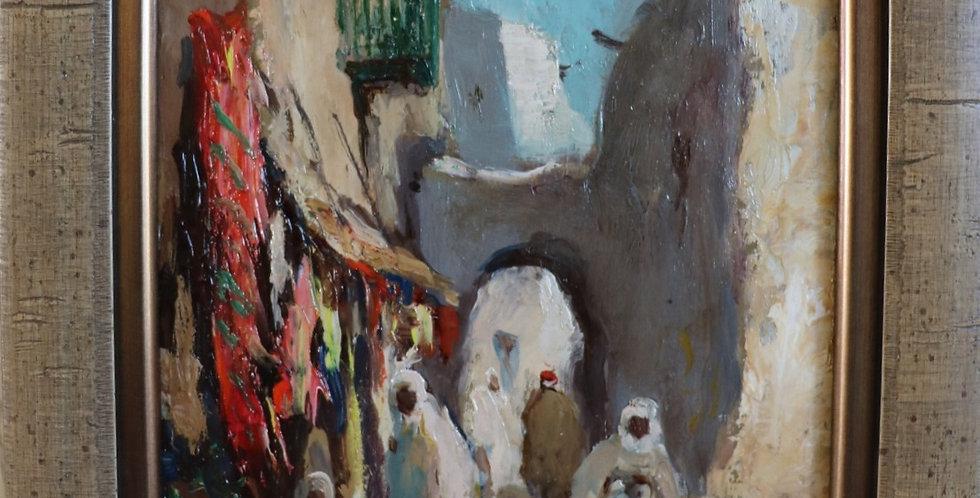 "HSP de Gustave FLASSCHOEN (1868-1940), ""Rue animée à Bou-Saada"", 19 x 14 cm"