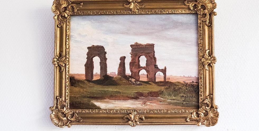 "HSP Louis ROBBE (1806-1887), ""Ruines"", 25 x 33 cm"