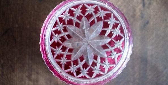 Val Saint Lambert, boîte en cristal doublé rouge