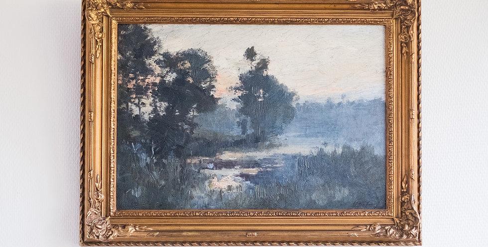 """HST Jean-Baptiste DE GREEF (1852-1894), """"Paysage au marais"""", 34 x 47 cm"""