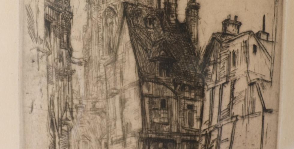"""Gravure Jean DONNAY (1897-1992), """"Le Chanteur des Rues-Rouen"""", 40 x 20 cm"""