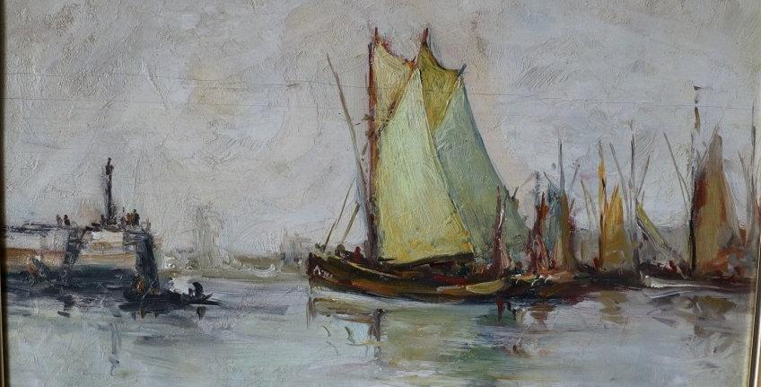 "JAMAR Armand (1870-1946), HSP, ""Barques de pêche-Concarneau"", 38 x 47 cm"
