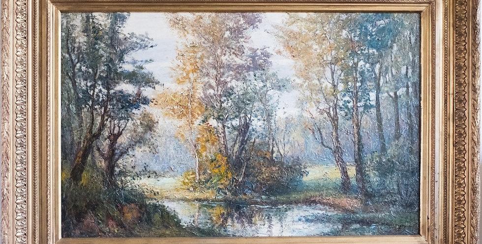 """HSP J. MONTIGNY, """"Paysage à la mare"""", 66 x 100 cm"""