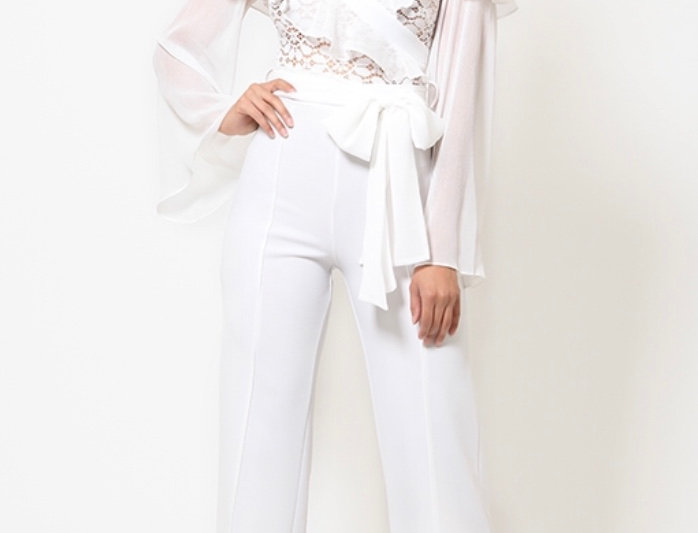 Long Sleeves White Jumpsuit
