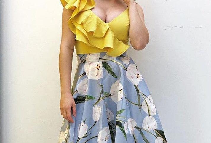 Flower Print Baby Blue Skirt
