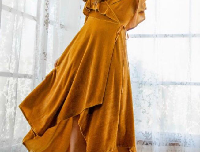 Mustard Velvet Frill Dress