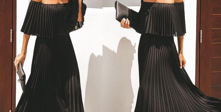 Long Pleated Black Dress