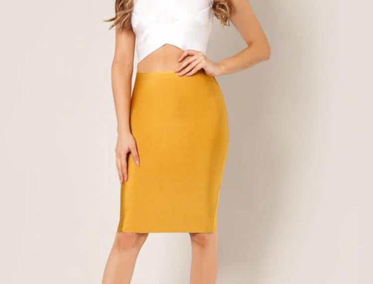 Mustard Bandage Skirt