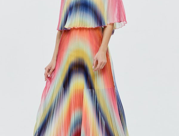 Off Shoulder Multicolor Dress