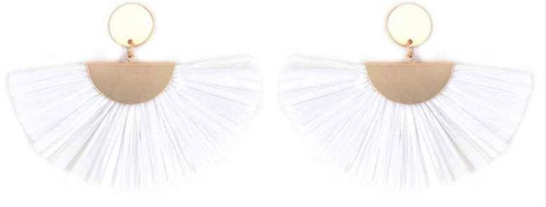 Raffia White Earrings