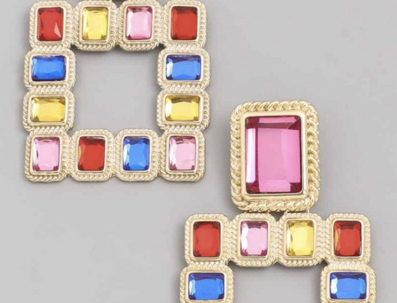 Multicolor Square Earrings