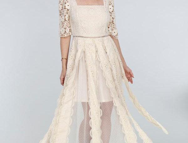 Embroider Midi Dress