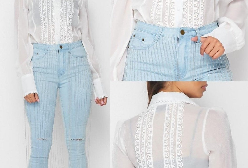 Crystals Fringed Jeans