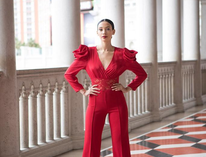 Long Sleeve Red Jumpsuit