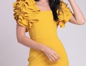 Puffed Mustard Dress