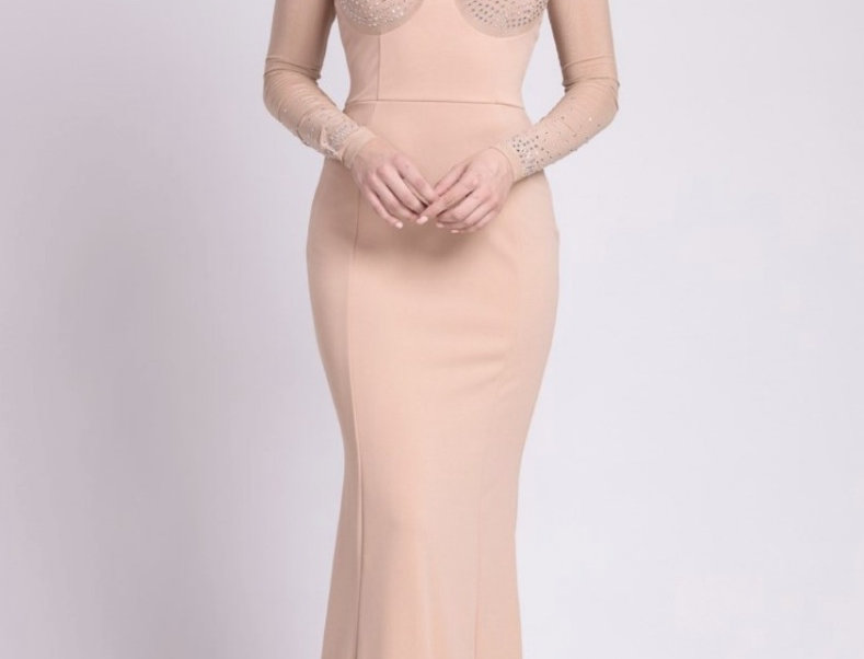 Nude/crystals Long Dress