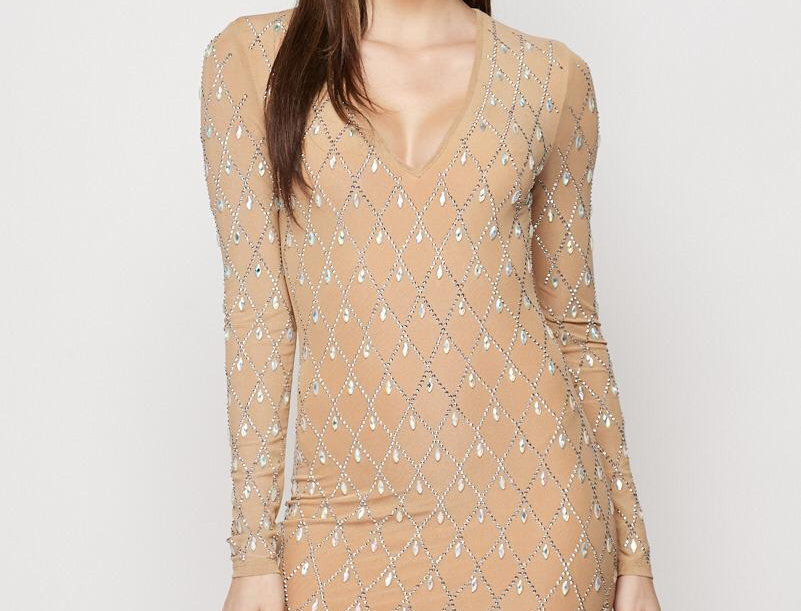 Crystals Long Sleeve Dress