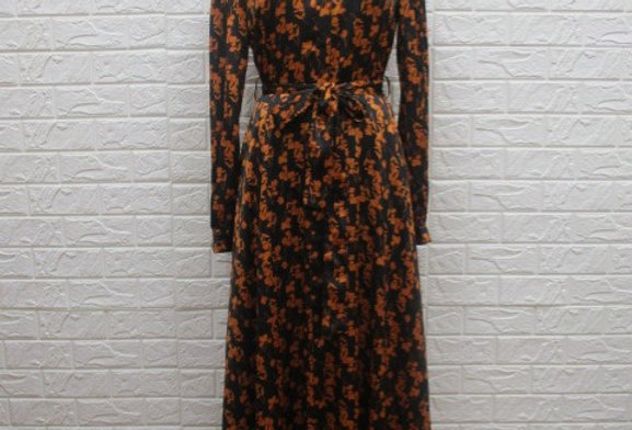 Black & Orange Print Dress