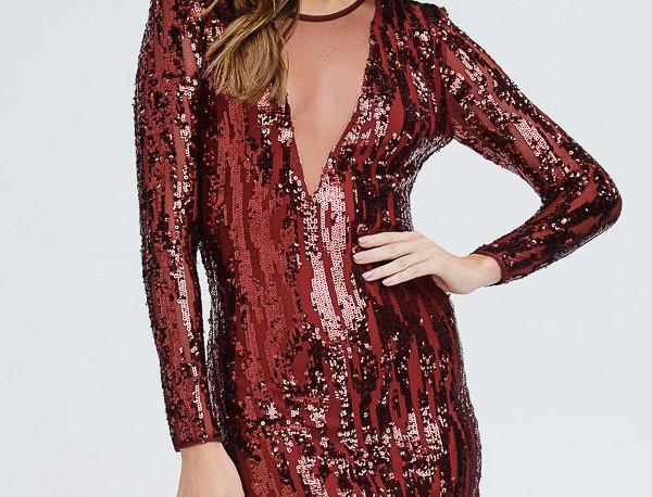 Burgandy Sequins Dress