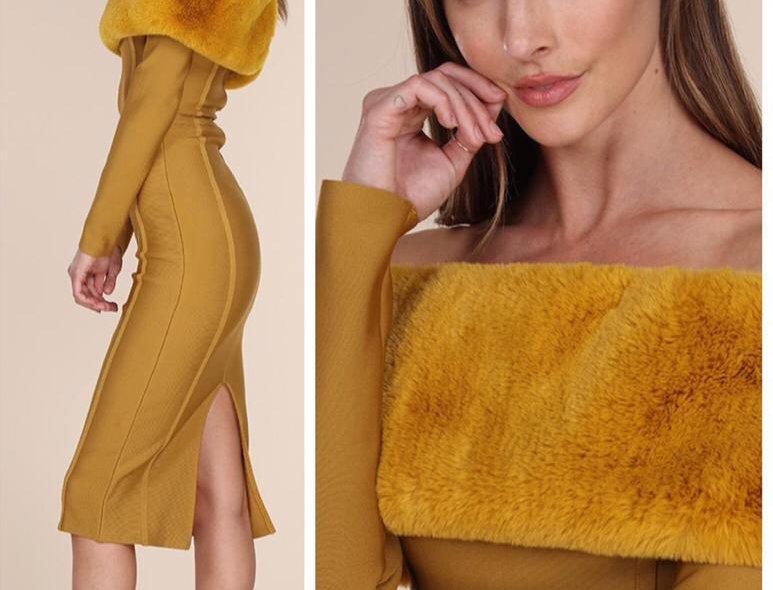 Bandage Mustard Dress