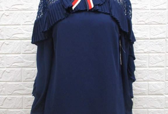 Shoulder Lace Navy Blouse