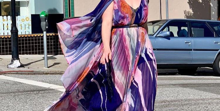 Multicolor Pleated Dress