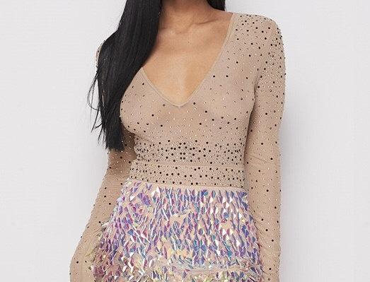 Iridescent Bottom Long Sleeve Dress