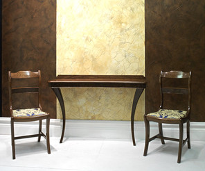 Walnut Console Table & Matching Chairs
