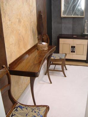 Walnut Console, matching Chairs & Cabinet