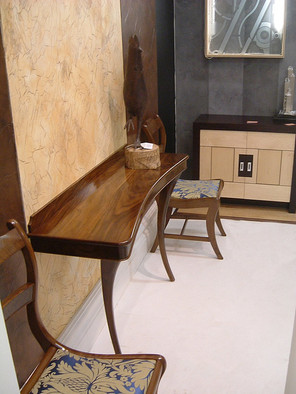 Walnut Console, matching Chairs & Cabinet