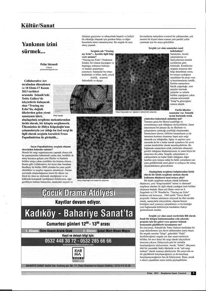 Bosphorus Art News Paper Interview