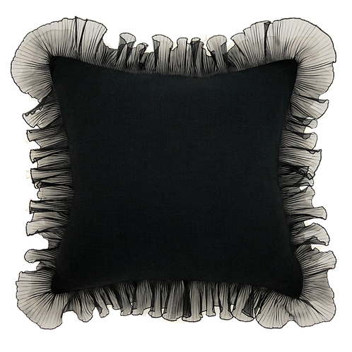 "Black Tie Ruffle 20"" Pillow"